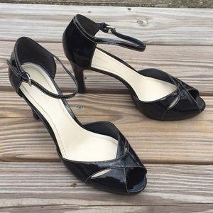 Ann Taylor Black Patent Leather Peep Toe Heels